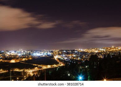 Jerusalem at night with the Al-Aqsa Mosque and the Mount of Olives