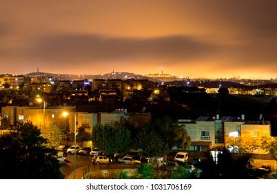 Jerusalem night view from Maale Adomim Israel