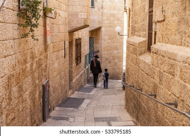 Jerusalem - November 24: Orthodox Jews in the Old City, Jerusalem, Israel, November 24, 2016