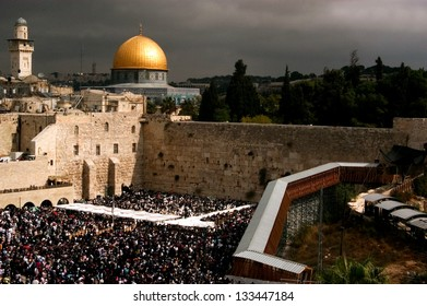JERUSALEM - OCT 14: Orthodox Jewish pray at the Western Wall during the Jewish holiday of Sukkot on October 14 2008 in Jerusalem, Israel.