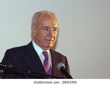 JERUSALEM, October, 2005: President the State of Israel Shymon Peres converses with the journalists in the Israeli parliament (Knesset) on October, Jerusalem, Israel.