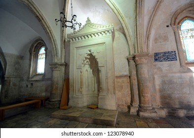 """JERUSALEM - OCTOBER 5: Coenaculum on October 5, 2012 in Jerusalem. Coenaculum is the traditional place of the """"upper room,"""" where the Last Supper of Jesus was held."""