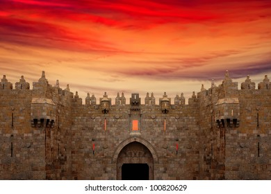 Jerusalem Old City - Damascus Gate on the sunset background