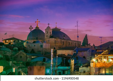 Jerusalem Old City and Holy Sepulchre at Night, Israel