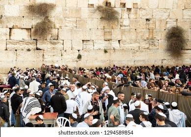 Jerusalem, Old city, Israel - December 24, 2018: Religious, holy ceremony at the Western Wall in Old City of Jerusalem, Israel.