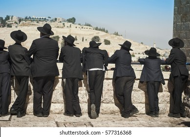 JERUSALEM, OLD CITY. JULY 14, 2010. Orthodox Jew students of Yeshivah stand in front of the Western Wall