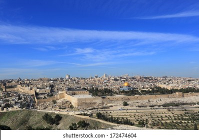 Jerusalem old city panorama, a view from Mount of Olives