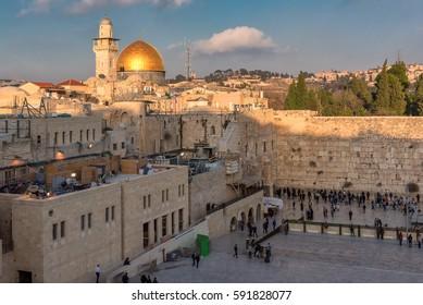 Jerusalem Old City at sunset, Israel.