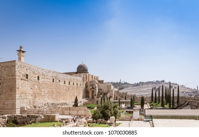 Jerusalem old city. Temple mount, Al aqsa mosque and Olive mount are christian muslim and jewish holy places.