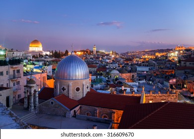 Jerusalem Old City and Temple Mount at Night, Israel