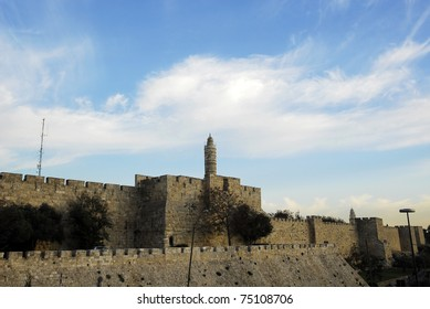 Jerusalem old city wall and king David tower during the evening