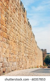 Jerusalem Old City walls. vertical view
