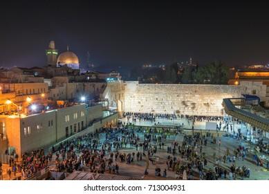 Jerusalem Old City - Western wall at night in Israel.