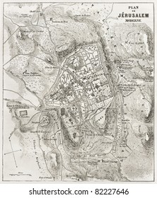 Jerusalem old map. Created by Villemin after Gerardy, published on Le Tour du Monde, Paris, 1860