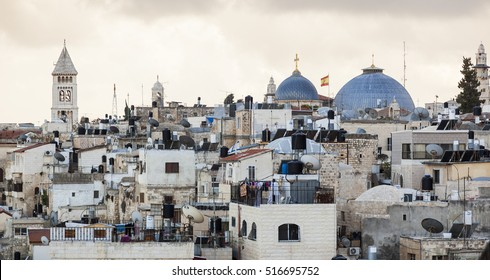 JERUSALEM OLD TOWN, ISRAEL - NOVEMBER 1, 2014:  Unidentified tourists enjoying the view on the top of Damascus gate.