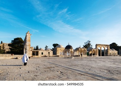 JERUSALEM, PALESTINE/ISRAEL - March 19, 2016 - The courtyard at the Dome of Rock, Al-Aqsa compound in the old city of Jerusalem.