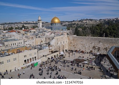 Jerusalem, Panorama of Western Wall Plaza and Temple Mount, with Mount Scopus in the background