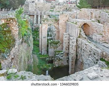 Jerusalem - The ruins of Bethesda pool.
