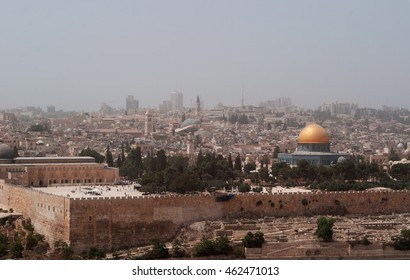 Jerusalem: skyline with the Dome of the Rock during a sandstorm on September 10, 2015. The Dome of the Rock is the Islamic shrine on the Temple Mount