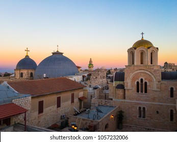 Jerusalem skyline - holy sepulcher sunset