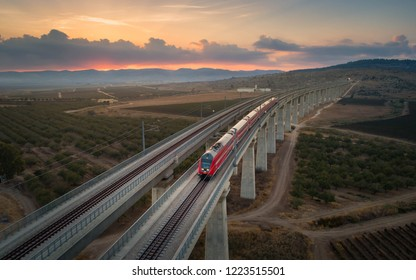 The Jerusalem - Tel Aviv high speed train crossing a bridge in a valley near Modi'in