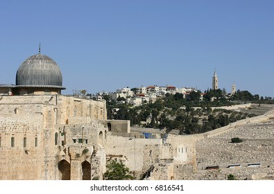 Jerusalem – View on the Mount of Olives from Al-Aqsa mosque