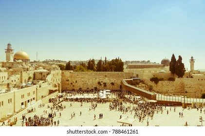 Jerusalem vintage retro aged picture. The Temple Mount - Western Wall, the golden Dome of the Rock and Al Aqsa Mosque in the old city of Jerusalem, Israel