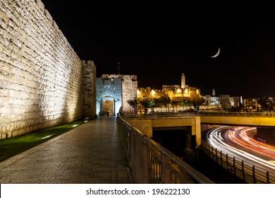 Jerusalem wall and Jaffa Gate at night