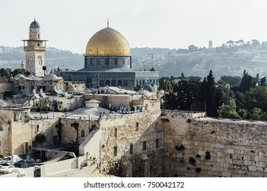 Jerusalem western wall view, Al-Aqsa Mosque and Jerusalem Archaeological Park Israel, Middle East