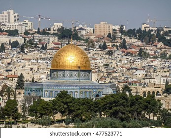 JERUSALEM/ISRAEL - APRIL 10, 2011: View of the Dome of the Rock on the Temple Mount from the Mount of Olives.