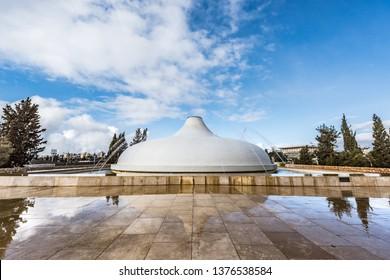 Jerusalem,Israel - Feb 9 2019 : Israel Museum.Shrine of the Book which houses the Dead Sea Scrolls, Jerusalem, Israel