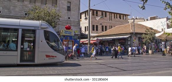 Jerusalem,Israel - July 31,2015:Sellers,tourists and local people in busy Jerusalem market Mahane Yehuda.Jerusalem, July 31,2015