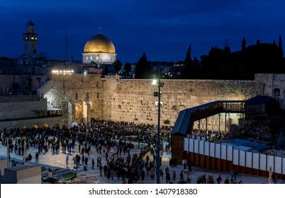 Jerusalem,Israel,29-March-2019:Skyline of Jerusalem at the western wall or wailing waa at night during sabbath,sabbath starts the friday evening in israel
