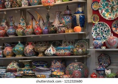 Jerusalem's old city Arab Quarter colorful pottery