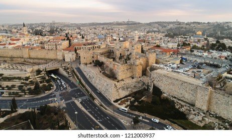 Jerusalems Old City with the Tower of David and Jaffa gate in the center of the scene,