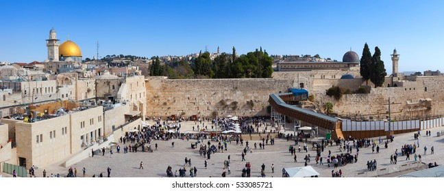 Jerusalem's Western wall and Dome of the rock, Panoramic view