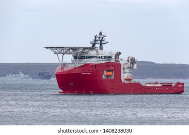 Jervis Bay, Australia - October 1, 2013: Australian Border Force multi purpose off shore vessel Ocean Shield in Jervis Bay.