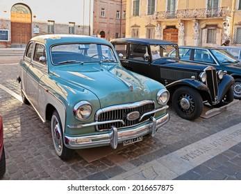Jesi, AN, Italy - September 29,2019: vintage Italian Fiat 1400 B (1957) in classic car meeting Mostra veicoli d epoca