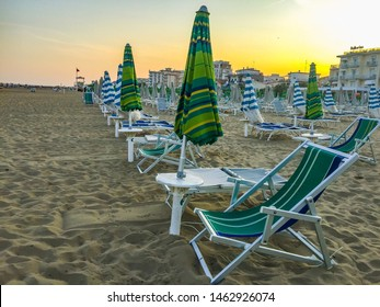 Jesolo Beach/Italy -  07,19,2019 Sunbeds after a long hot day on the Lido di Jesolo beach in nothern italy