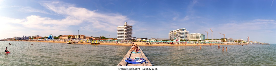 JESOLO, ITALY, 29 AUGUST 2018: overview of the Jesolo beach
