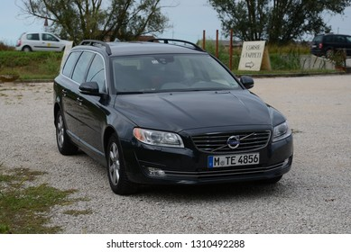 JESOLO, ITALY - AUGUST 20, 2013: VOLVO V70 third generation 2013 facelift estate station wagon executive car manufactured by Volvo Cars
