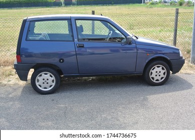 JESOLO, ITALY - JUNE 22, 2014: Autobianchi Y10 facelift designer city compact and economy 1990s car manufactured from 1985 to 1995 marketed under the Lancia brand in most export markets as Lancia Y