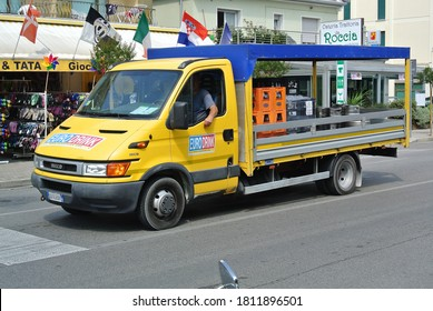 JESOLO, ITALY - JUNE 23, 2014: IVECO Daily EURODRINK track on the city street