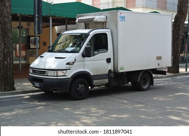 JESOLO, ITALY - JUNE 23, 2014: IVECO Daily delivery truck on the city street