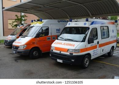 JESOLO, ITALY - JUNE 28, 2013: Italian ambulance emergency vans FIAT Ducato and Mercedes-Benz Sprinter on duty