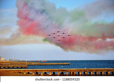 Jesolo lido, Italy – sep 09 2018: Jet aircrafts acrobatic group  of Italy Air Force drawing italian flag figure in the sky