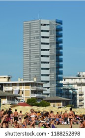 Jesolo lido, Italy – sep 09 2018: g-tower in Marina square
