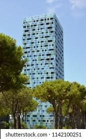 Jesolo Lido, Veneto, Italy – jul 24 2018: Merville tower, designed by Gonçalo Byrne architect, east facade.