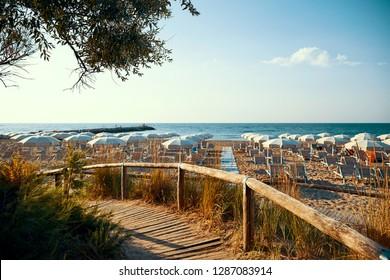 Jesolo resort at daylight. Nobody on the beach. Blue sea. Province of Venice, Italy