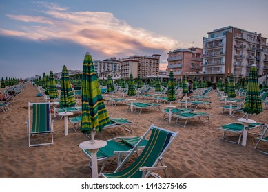 Jesolo/Italy - August 10/2018 - Sunbeds after the tourist left the beach